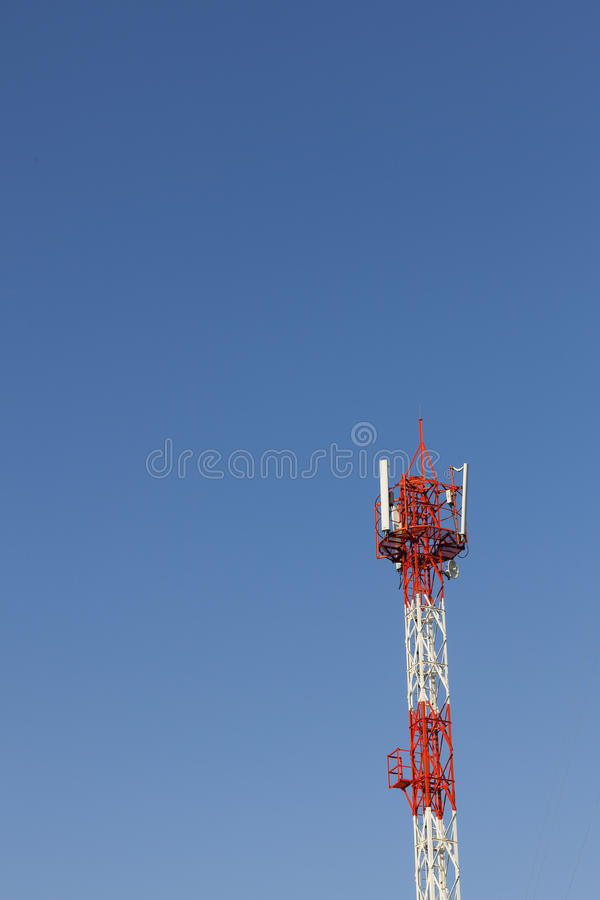 Telecommunication tower. With blue sky royalty free stock images