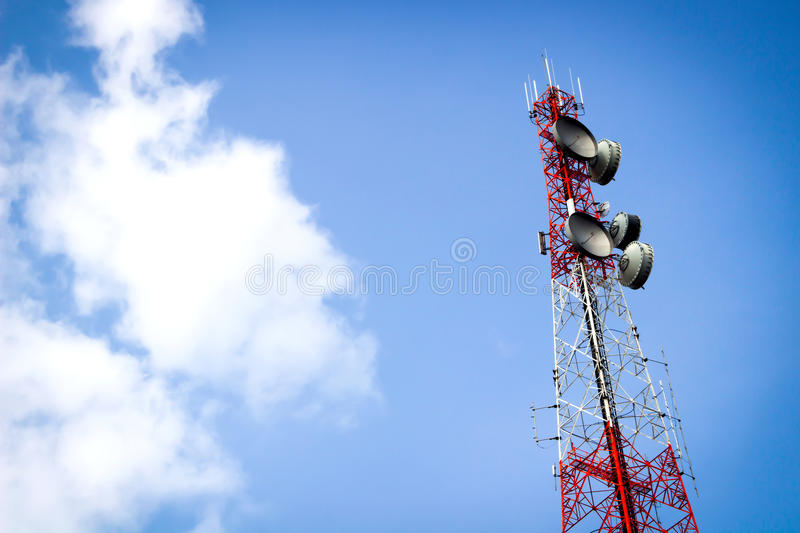 Telecommunication tower and blue sky. A telecommunication tower and blue sky royalty free stock photos
