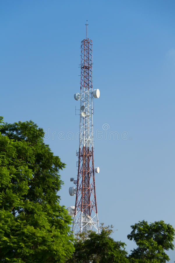 Telecommunication tower with blue sky.  royalty free stock photos