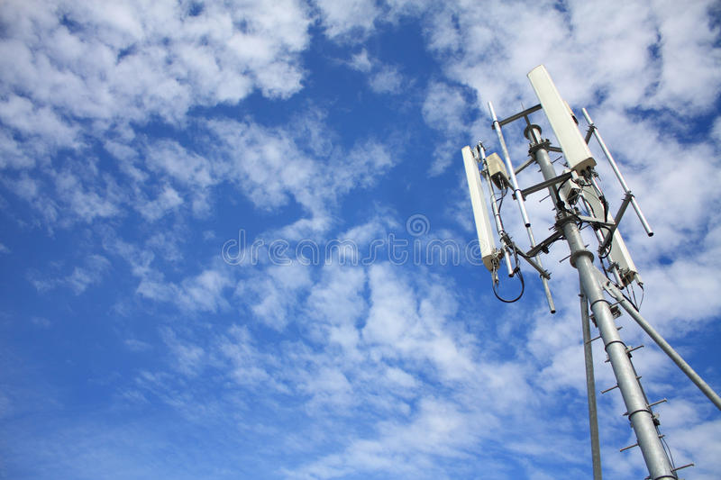 Telecommunication tower. With blue sky stock photo