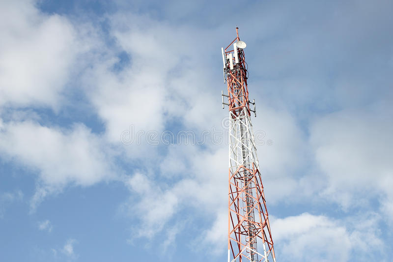 Telecommunication tower with blue sky.  royalty free stock images