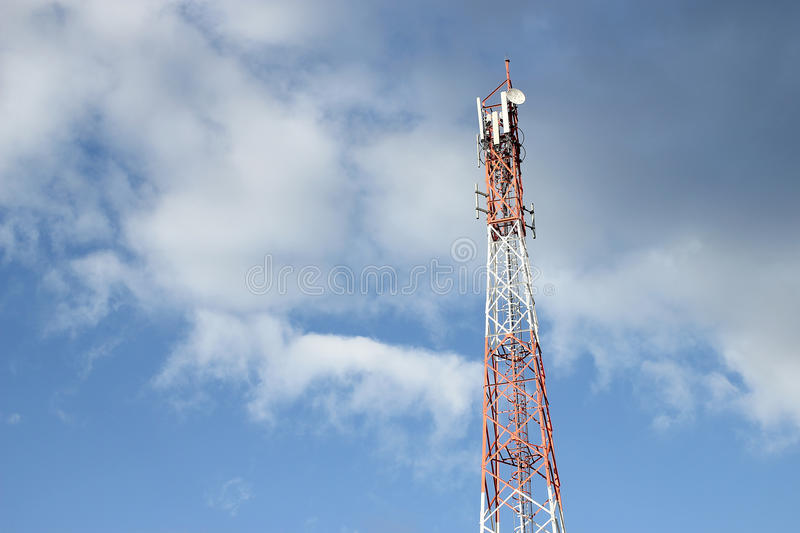 Telecommunication tower with blue sky.  royalty free stock photography