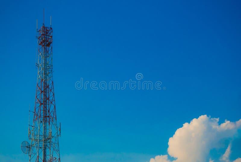 Telecommunication Tower with Blue Sky. Kalasin Thailand royalty free stock photo