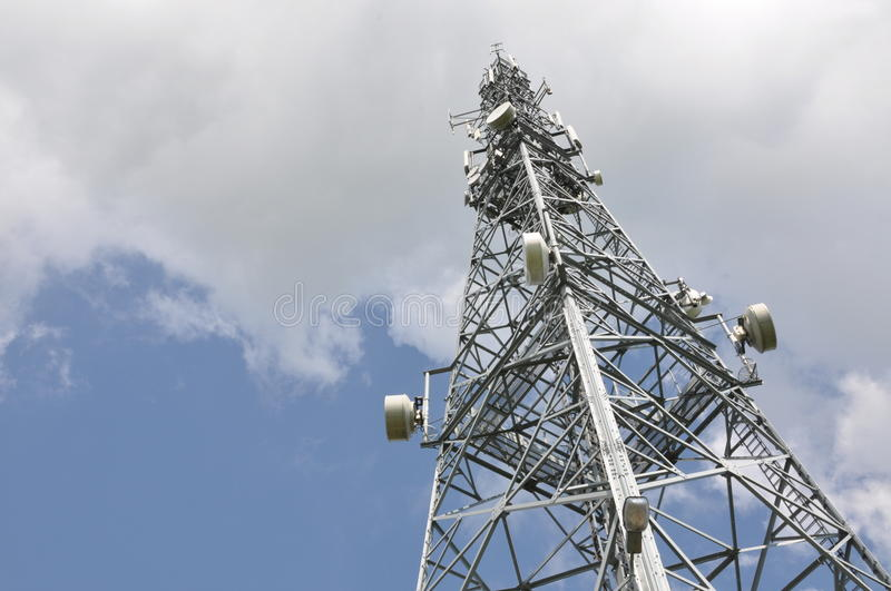 Telecommunication tower. With cell phone antennas stock photo