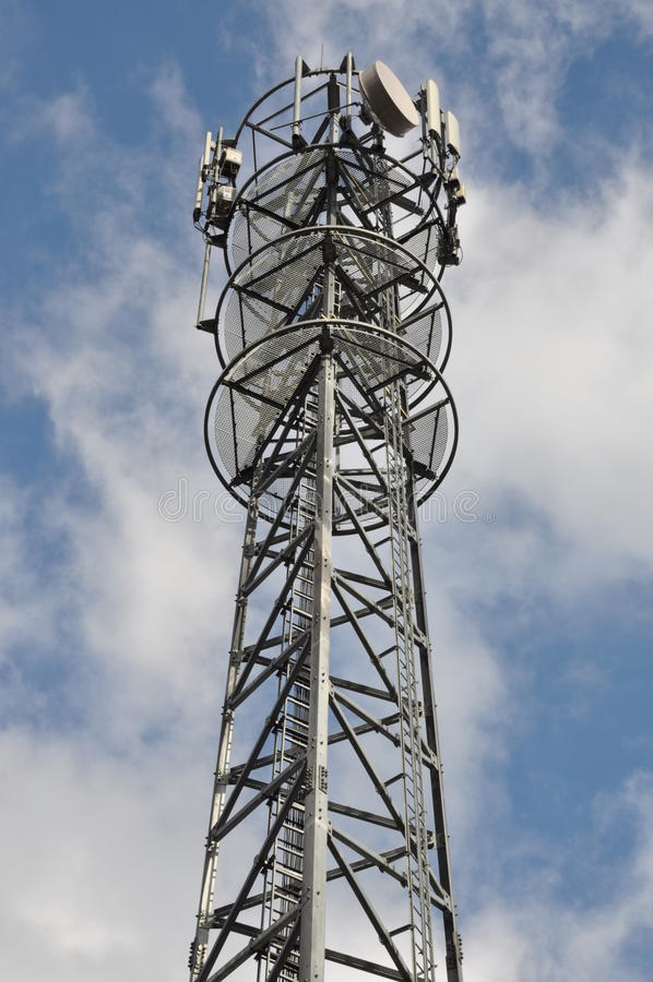 Telecommunication tower. With cellular antennas system royalty free stock image