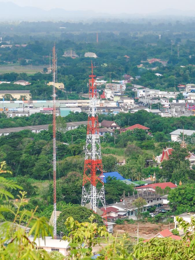 Telecommunication tower in the city stock image