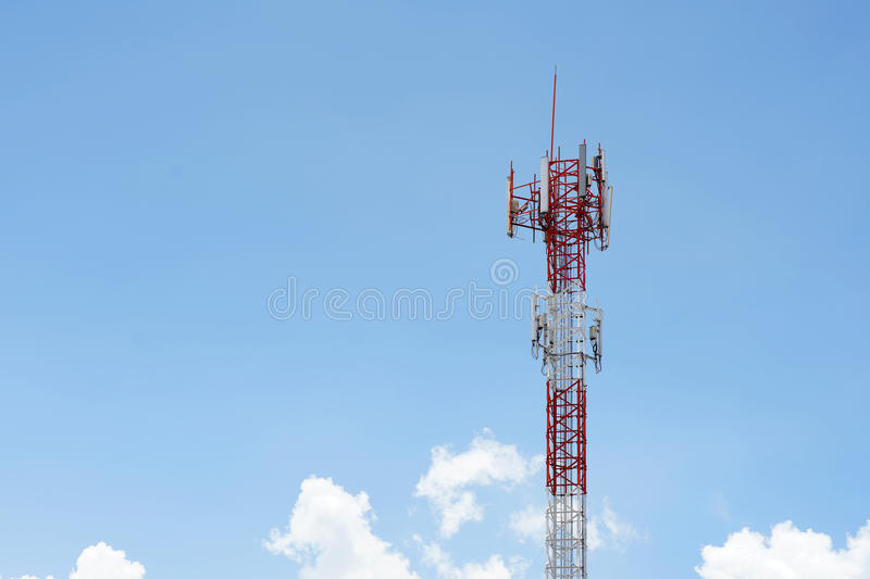 Telecommunication tower. Closeup of a telecommunication tower royalty free stock photography