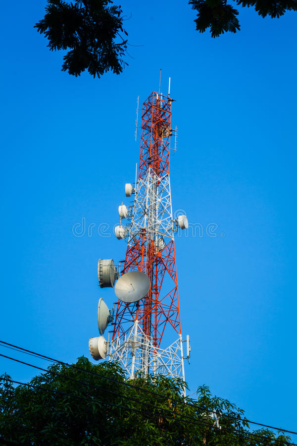 Telecommunication tower and cloudy blue sky with foreground of p. Lant and wires royalty free stock photos