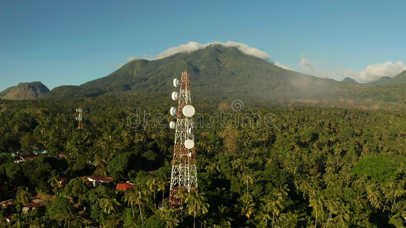 Telecommunication tower, communication antenna in asia stock photos