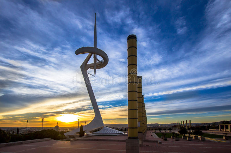 Telecommunication Tower designed for 1992 Summer Olympics in Bar. Celona, Spain royalty free stock photography