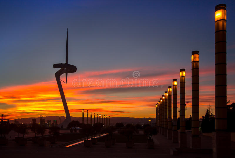 Telecommunication Tower designed for 1992 Summer Olympics in Bar. Celona, Spain royalty free stock image