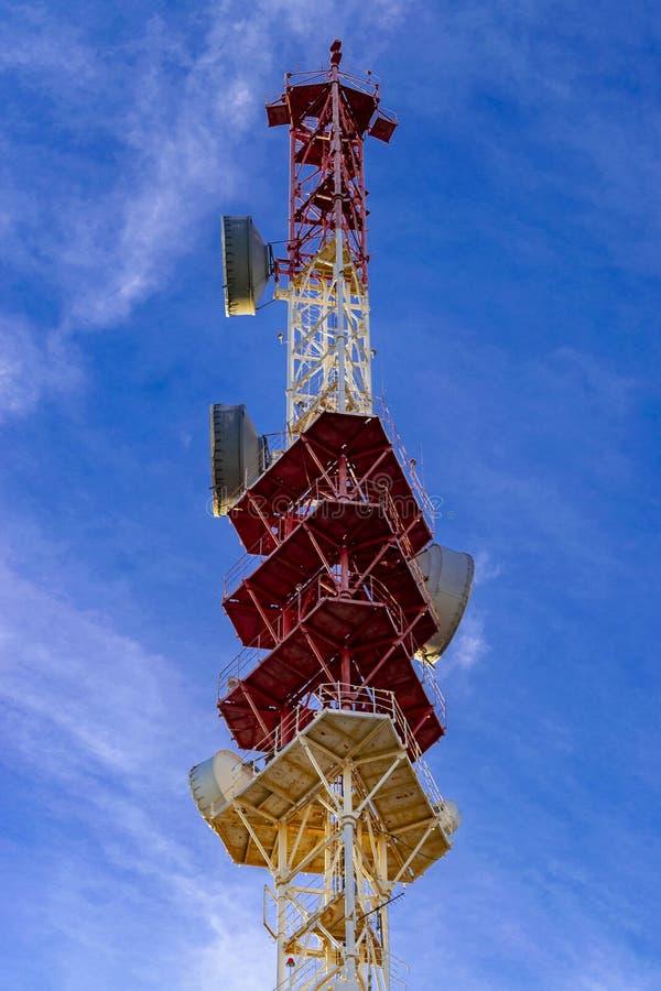 Telecommunication tower 5G. Bottom view stock photo
