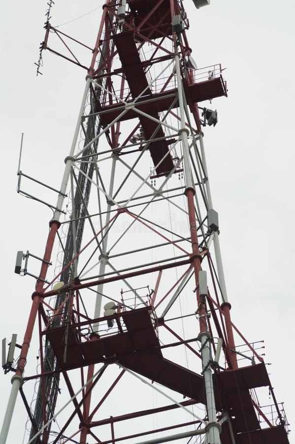 Telecommunication tower. high radio antenna. big metal construction. Telecommunication tower. high radio antenna. big construction, phone, white, broadcasting stock photo