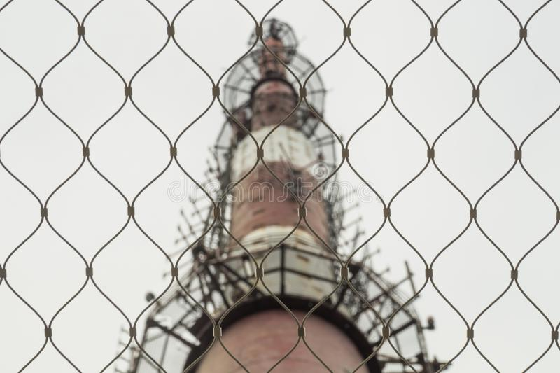 Telecommunication tower. high radio antenna. big metal construction. Telecommunication tower. high radio antenna. big construction, phone, white, broadcasting stock images