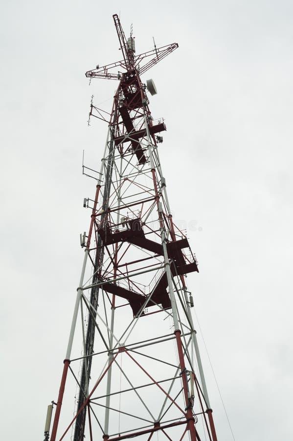 Telecommunication tower. high radio antenna. big metal construction. Telecommunication tower. high radio antenna. big construction, phone, white, broadcasting stock photos