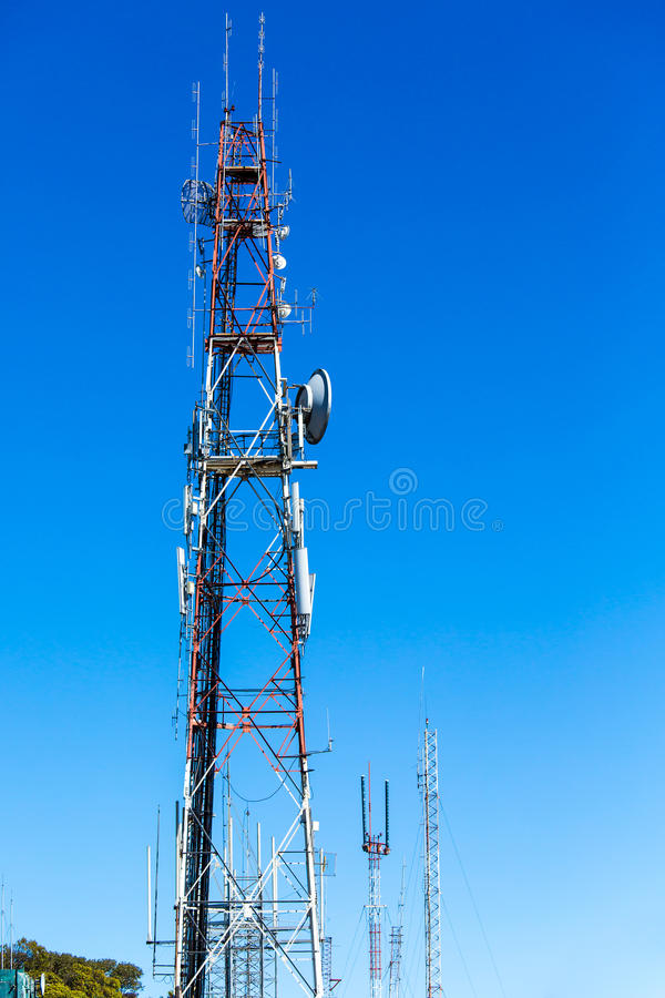 Telecommunication tower. High telecommunication tower with the sky stock photos