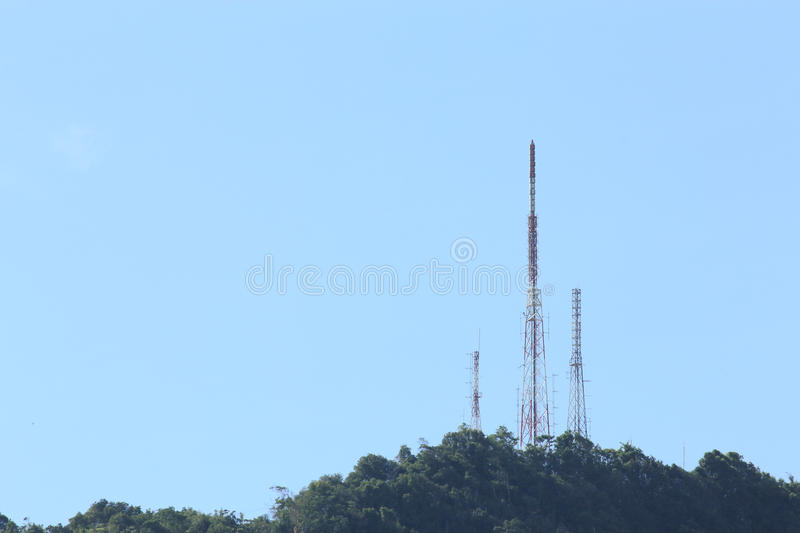 Telecommunication tower. On the hill royalty free stock images