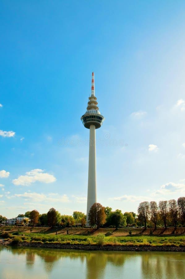 Telecommunication tower in Mannheim. Germany on Neckar river stock photos