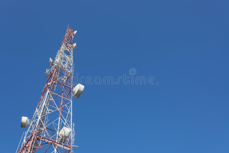 Telecommunication tower mast TV and radio antenna.  stock images