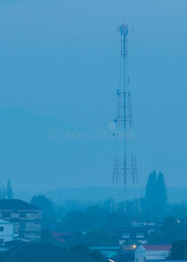 Telecommunication tower in Morning. Telecommunication tower in sunrise Morning royalty free stock photo