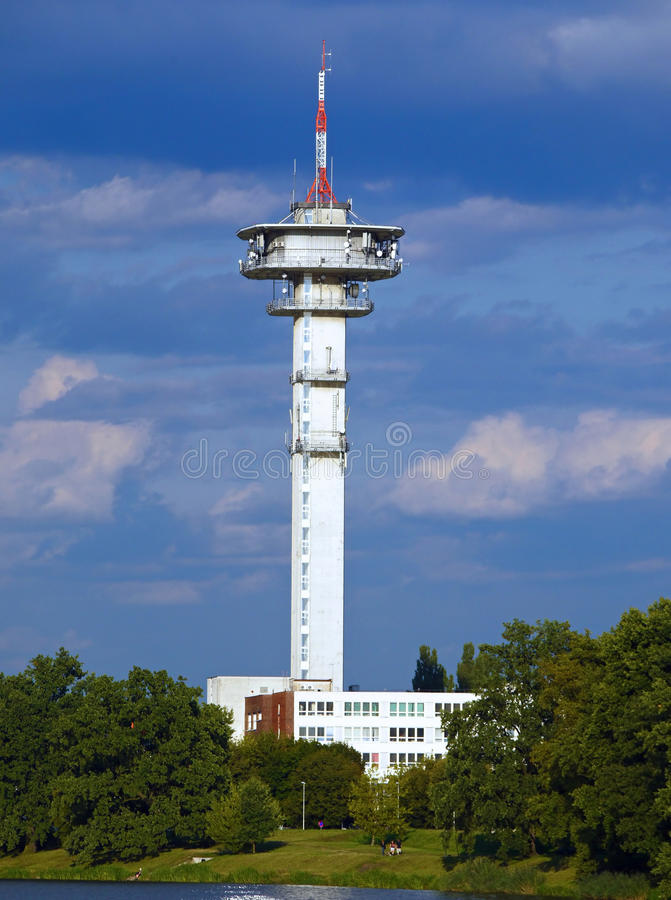 Telecommunication tower in Pardubice city Czech Republic. Distant view of telecommunication tower in Pardubice city Czech Republic royalty free stock images
