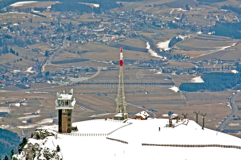 Telecommunication tower and skiift royalty free stock photo