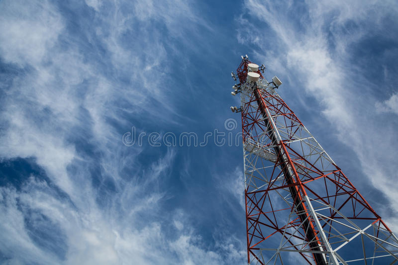 Telecommunication tower. And sky blue stock photography