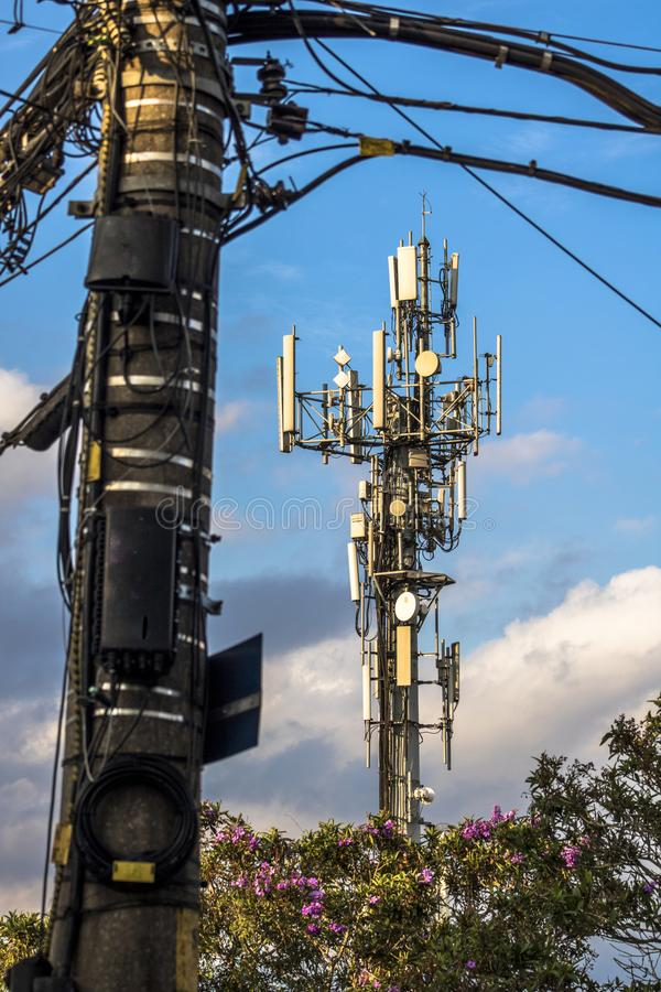 Telecommunication tower. With copy space.Digital wireless connection system.Development of communication systems in urban areas.Modern Business Communication stock photography