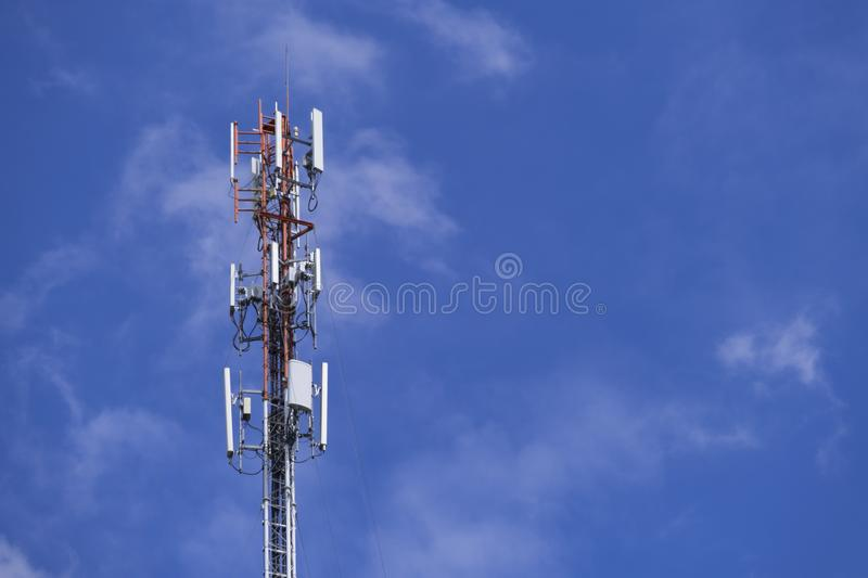 The pole of telecommunication telephone signal transmission tower with blue sky. The telecommunication tower to transmission data mobile phone or any signal with royalty free stock images