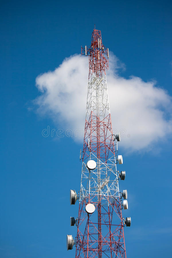 Telecommunication tower. Under blue sky stock photography