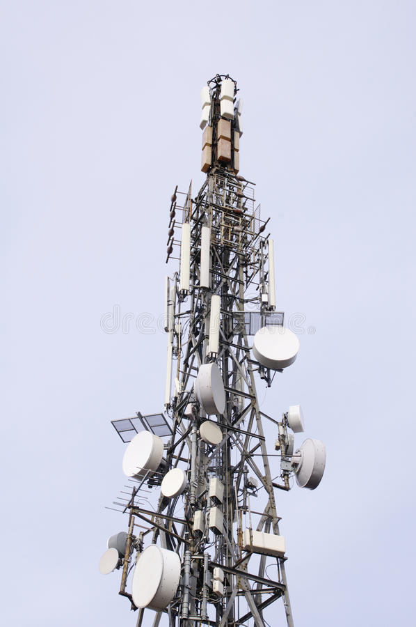 Telecommunication tower view from bellow. On the Sky royalty free stock photos