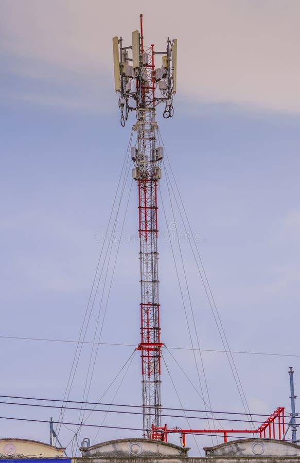 Telecommunication tower. Wireless Communication Antenna Transmitter. 3G, 4G and 5G cellular. Base Station or Base Transceiver Station. Telecommunication tower stock photography