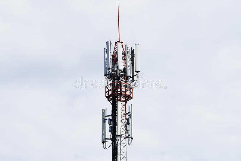 Telecommunication tower. Wireless Communication Antenna Transmitter. 3G, 4G and 5G cellular. Base Station or Base Transceiver Station. Telecommunication tower royalty free stock image