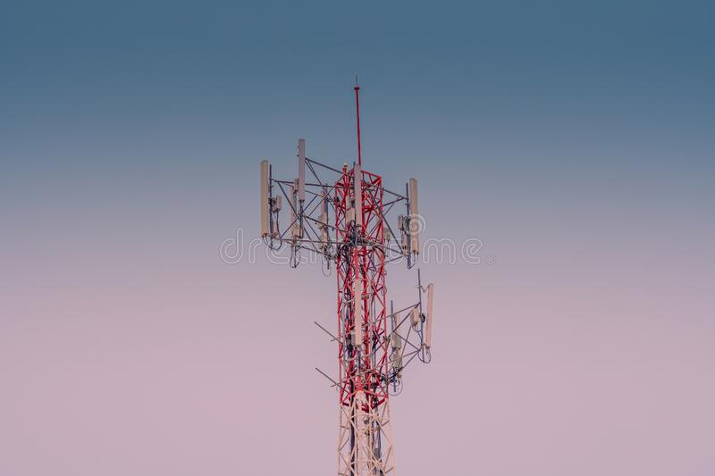 Telecommunication tower. Wireless Communication Antenna Transmitter. 3G, 4G and 5G cellular. Base Station or Base Transceiver Station. Telecommunication tower royalty free stock photos