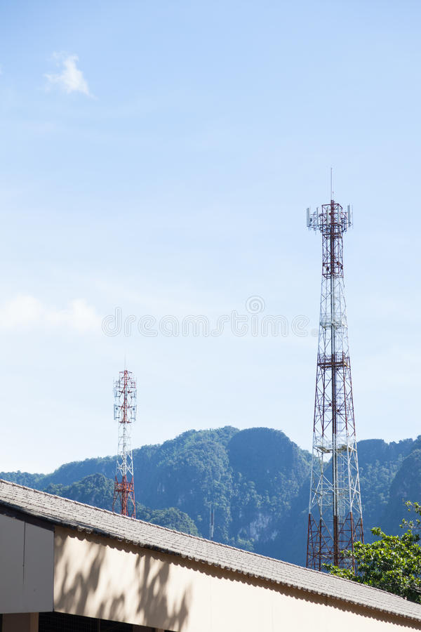 Telecommunication towers. In mountain areas The area is surrounded by rugged and mountainous terrain royalty free stock photos