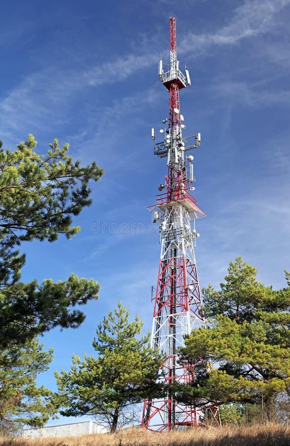 Telecommunication transmitter. On hill Mnich near town Ruzomberok, SLovakia stock photos