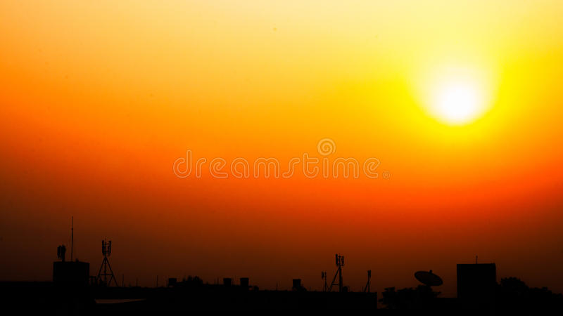 Telecommunication in twilight. Wallpaper landscape telecommunication in twilight royalty free stock images