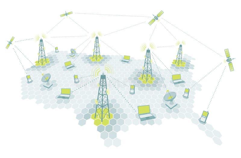 Telecommunication working diagram vector illustration