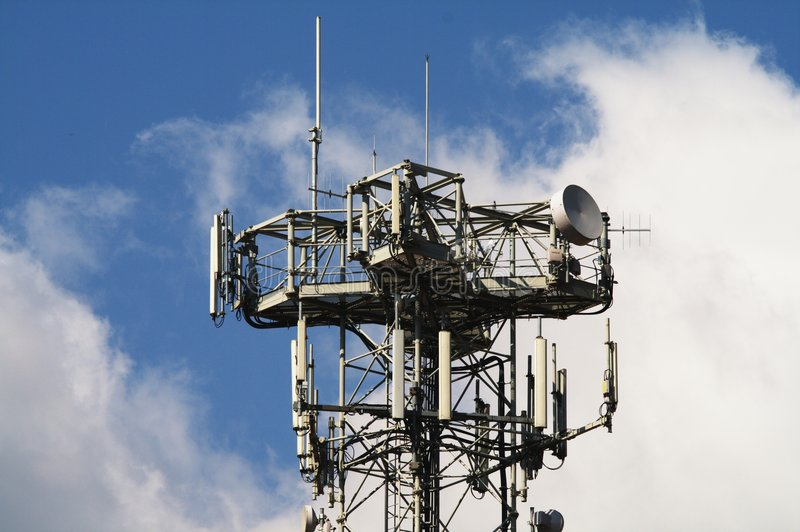 Telecommunications. Telecommunication Antennas Structure for Television and Phone stock photography