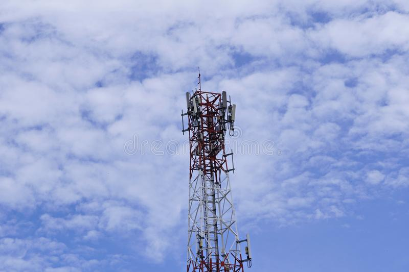 Telecommunications Cell site. 3G, 4G and 5G Cell site, Telecommunication tower, radio tower or mobile phone base station. Development of communication systems in royalty free stock photos