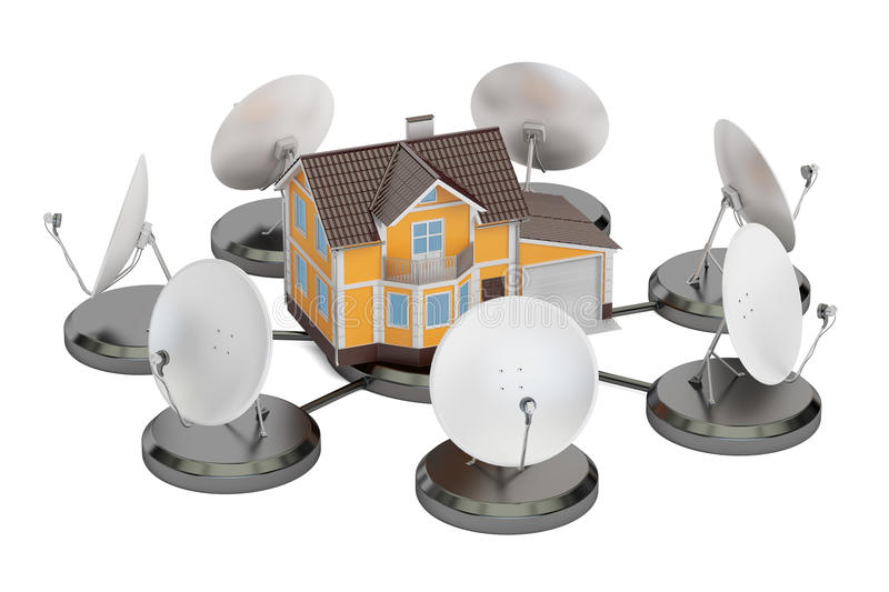 Telecommunications concept. Satellite dishes with house, 3D rend vector illustration
