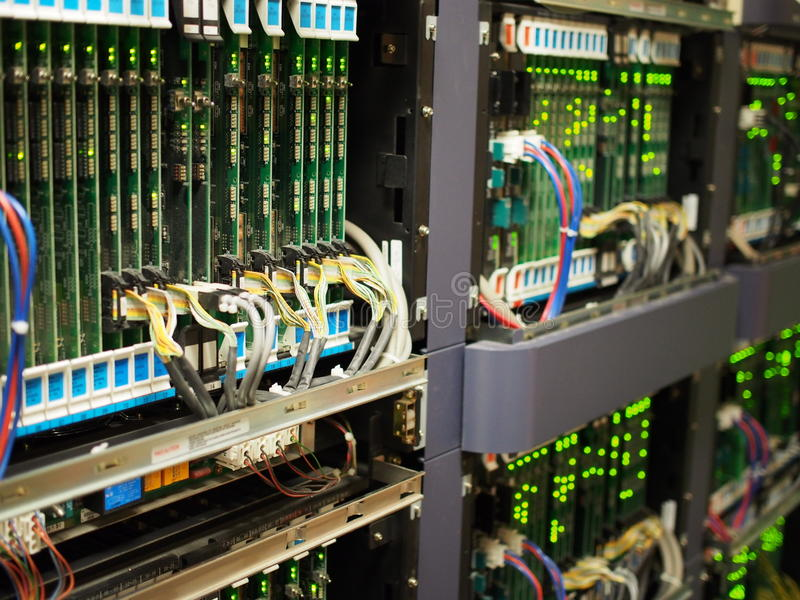 Telecommunications equipment. Image of modern Telecommunications equipment typically installed in large facilities royalty free stock photo