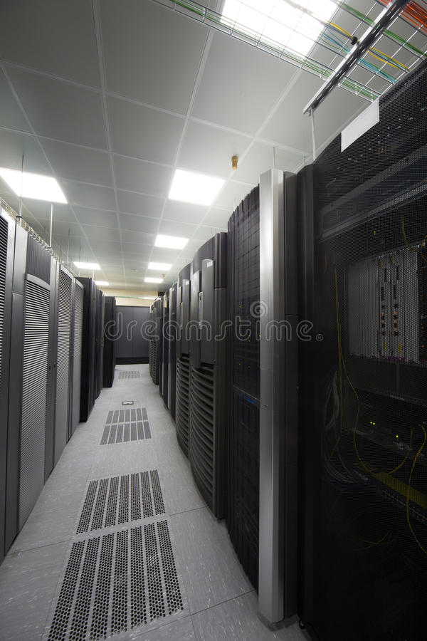 Telecommunication Room Design: Room With Telecommunications Equipment. Stock Photo