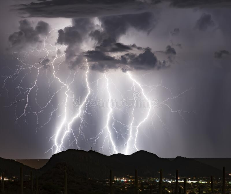 Telecommunications Hill Lightning royalty free stock photo
