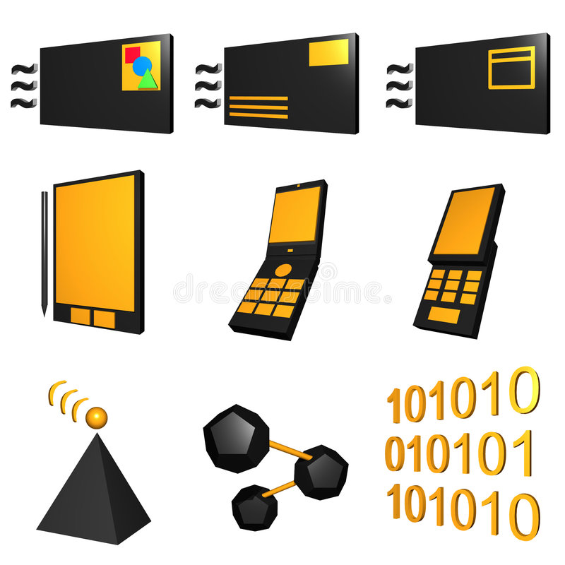 Telecommunications Mobile Industry Icons Set - Bla royalty free illustration