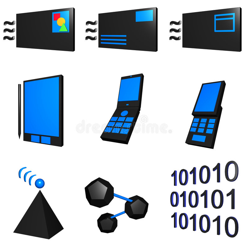 Telecommunications Mobile Industry Icons Set - Blu