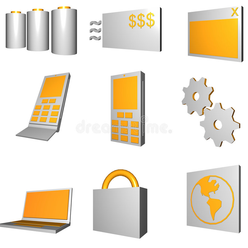 Telecommunications Mobile Industry Icons Set - Gra Stock Photos