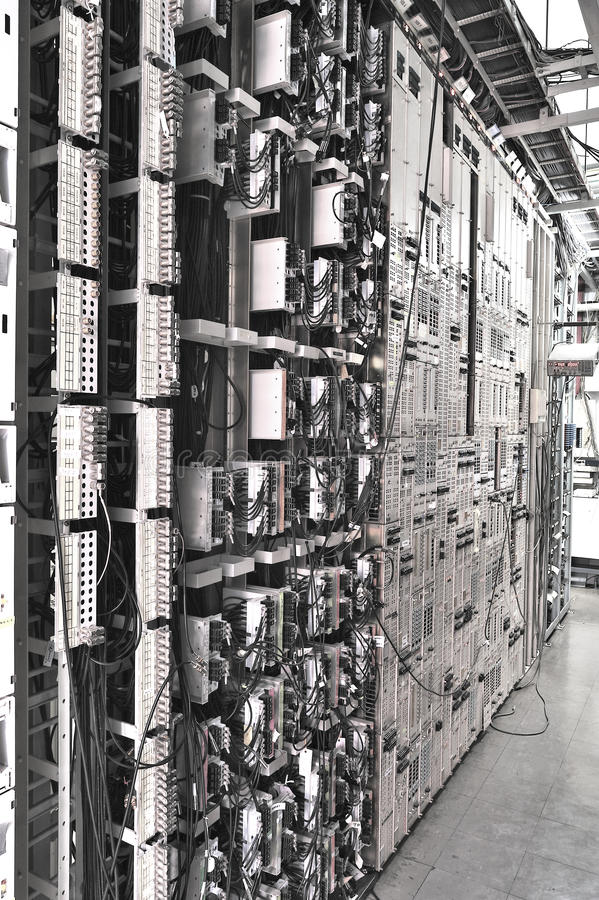 Telecommunications network server. In Building royalty free stock photo
