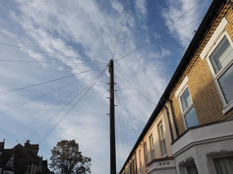 telecommunications pole for wires and fibre optics royalty free stock image