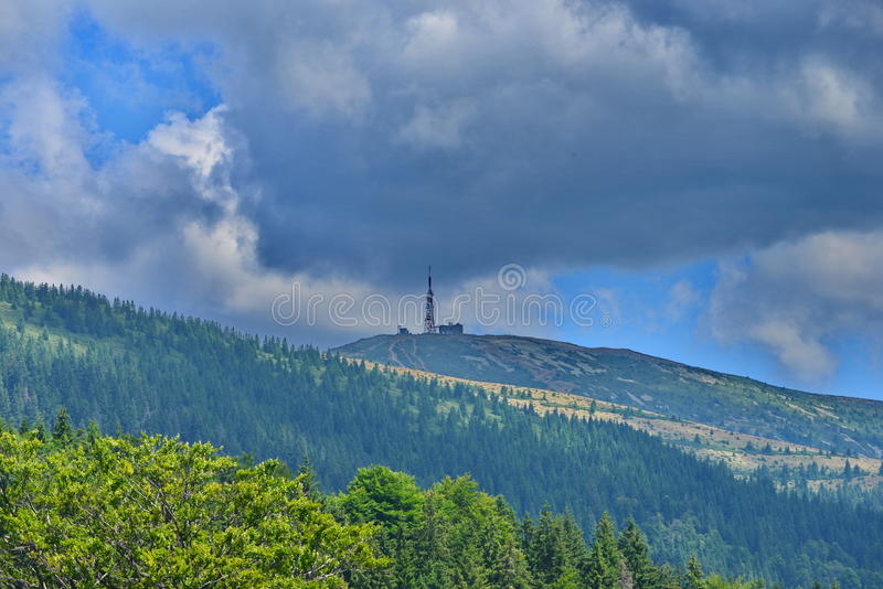 Telecommunications relay at Curcubăta Mare peak, Apuseni Mountains, Bihor, Romania. Apuseni Mountains in Transylvania are a mountain range, part of the royalty free stock photo